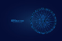 26 January Is The Republic Day Of India. Low Poly Wireframe Indian Republic Day Flag Ashoka Wheel Background. Digital Vector Illustration. Abstract Polygonal