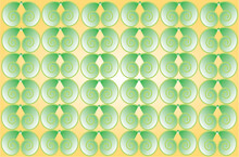 Wallpaper With Illuminated Green Spirals In The Shapes Of Snails. Spring Nature Background With Metaphorical Pattern On Yellow Background.