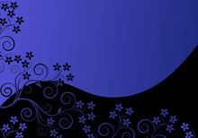 Elegant Blue Background With Swirls And Little Leaves And Flowers With Space For Your Text.