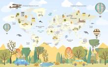 Children's Wallpaper. World Map Wifh Car In Russian.