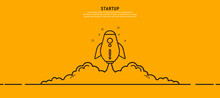 Rocket Design Business Startup Ideas That Grows Business Through Ideas And Concepts. In Orange Background Vector Illustration.