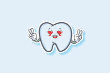 LOVELY, HAPPY, LOVING IN LOVE, HEART EYE Face Emotion. Double Peace Hand Gesture. Tooth Cartoon Drawing Mascot Illustration.