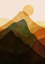 Abstract Mountain Landscape, Minimalist Design. Abstract Water Color. Vector Background Illustration.