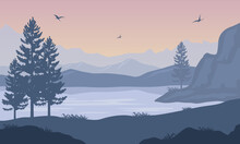 Nice View Of Spruce Trees And Mountain By The River In The Late Afternoon. Vector Illustration
