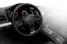 Luxurious Car Interior - Steering Wheel, Shift Lever And Dashboard On White Isolated Background.