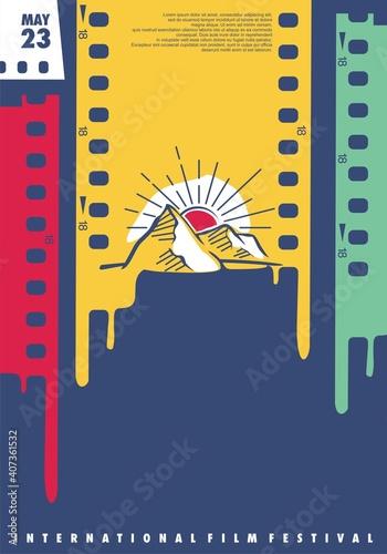Valokuva International film festival creative design idea with film strips and sunset landscape drawing