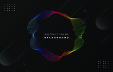 Futuristic Spectrum Rainbow Gradient Dot Wave Frame Vector Black Memphis Background, Dotted Colorful Rotate Line Border Digital Dynamic Elegant Wavy Flow Spin Round Technology Web Poster Card Template