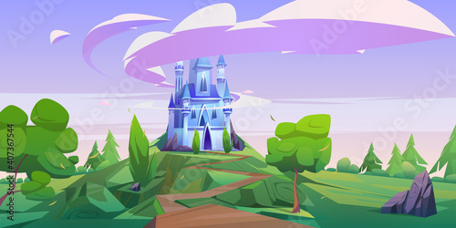 Fotografía Cartoon castle, magic fairy tale palace with turrets