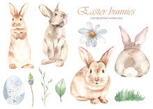 Watercolor Set With Easter Bunnies, Quail Egg, Flower, Spring Leaves