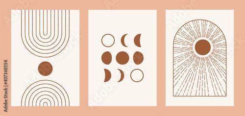 Fényképezés Boho sun, moon, arch set, minimalist mid century modern art