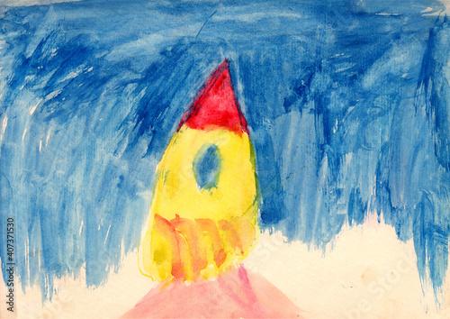 Watercolor gouache yellow rocket, children drawing, simple art Fototapet