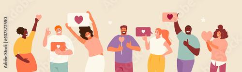Obraz People holding likes. Satisfied customers and followers on social media. Positive feedback. Vector illustration - fototapety do salonu