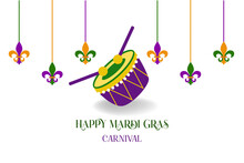 Mardi Gras Carnival Party Design With Cartoon Colorful Drum With Sticks, Fleur De Lis  . Fat Tuesday, Carnival, Festival. For Greeting Card, Banner, Gift Packaging, Poster.