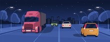 Night Driving In Lit City Street With Buildings And Lights. Panoramic View Of Nighttime Road Traffic With Cars And Trucks. Horizontal Colored Flat Cartoon Vector Illustration