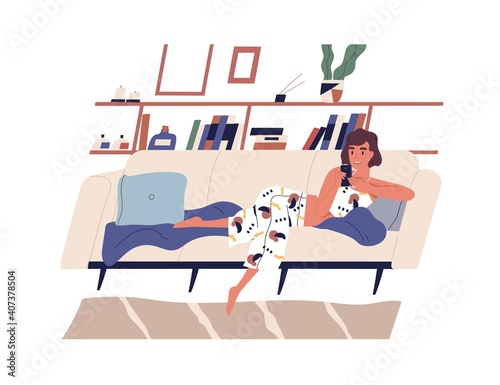 Young woman spending time with smartphone surfing internet and lying on sofa at home. Female character chatting or communicating by phone on couch. Flat vector illustration isolated on white © Good Studio