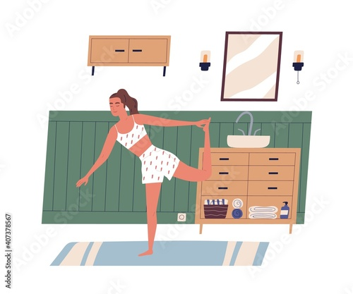 Obraz Young modern woman exercising or working out at home. Calm and peaceful female character with closed eyes in yoga posture. Everyday sport routine. Flat vector illustration isolated on white background - fototapety do salonu