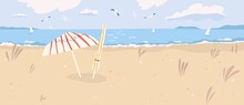 Deserted Sandy Beach Landscape. Summertime Scenery Of Desert Sea Shore With Umbrellas, Seagulls In Cloudy Sky And Sailboats On Horizon. Flat Vector Illustration