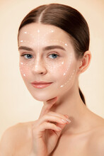 Beautiful Female Face With Lifting Up Arrows Isolated On Studio Background. Concept Of Bodycare, Cosmetics, Skincare, Correction Surgery, Beauty And Perfect Skin. Flyer For Your Ad. Antiaging.