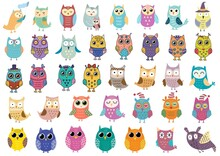 Big Collection Of Cute Owls. Clipart Bundle With Funny Birds. Forest Characters Isolated Elements Set. Vector Illustration