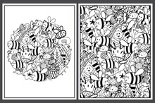 Coloring Pages Set With Cute Bees. Doodle Insects Templates For Coloring Book. Collection With Black And White Colouring Pages For Adults And Kids. Vector Illustration