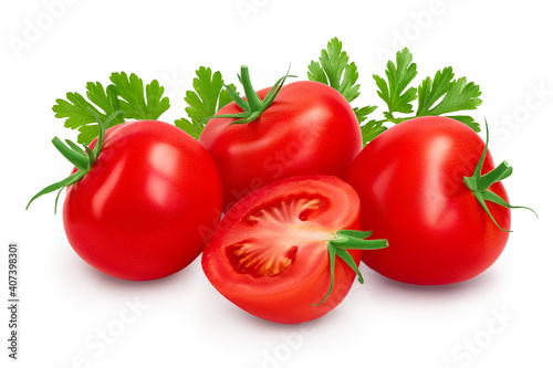 Obraz na plátně Tomato with half isolated on white background with clipping path and full depth of field