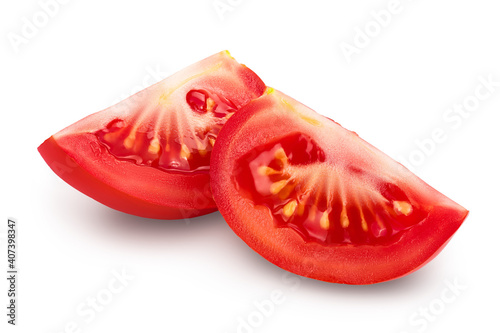 Fotografie, Obraz Tomato slices isolated on white background with clipping path and full depth of field