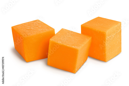 Fotografie, Obraz butternut squash slice isolated on white background with clipping path and full