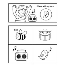 Five Senses Poster. Hearing Sense Presentation Page For Kids. Great For Activity Book. Vector Illustration