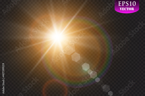 Fotografija Vector transparent sunlight special lens flare light effect
