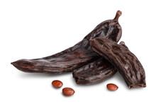Ripe Carob Pods And Bean Isolated On White Background With Clipping Path And Full Depth Of Field