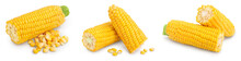 Ear Of Corn Isolated On A White Background. Clipping Path And Full Depth Of Field. Set Or Collection