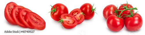 Fotografie, Obraz Tomato with slices isolated on white background with clipping path and full depth of field
