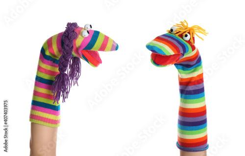 Obraz na plátně Funny sock puppets for show on hands against white background