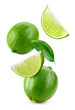 Lime fruit isolate. Lime whole, half, slice, leaf on white. Falling lime slices with leaves. Flying fruit. Full depth of field..
