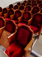 Empty Theater Hall Before The Concert. Rows Of Red Seats In The Theater