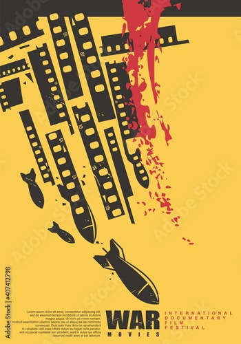 Canvas-taulu International documentary film festival artistic poster design with air bombs and film strips on yellow background