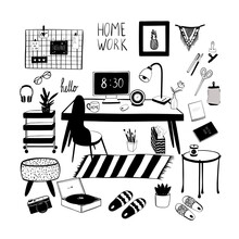 Seth, Work From Home, Home Office: Desktop; Curbstone; Office; Pouf; Slippers; Player; Flower In A Flowerpot. Doodle Vector, Hand-drawn, Cartoon Style