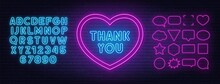 Thank You Neon Sign In A Heart-shaped Frame On Brick Wall Background. Blue Neon Alphabets And Pink Speech Bubble Frame. Template For Text.