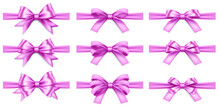 Big Set Of Realistic Pink Ribbons And Bows On White Background. Pink Bow For Decor Isolated. Holiday Decorations. Vector Illustration