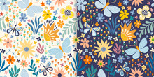 Floral Seamless Patterns Set With Butterflies, Flowers And Plants