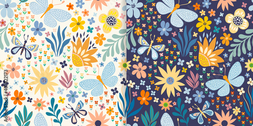 Fototapeta Floral seamless patterns set with butterflies, flowers and plants obraz
