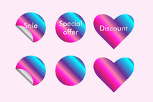 Set Of Six Vector Colorful Pink, Blue And Purple Sale Stickers.