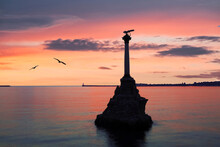 Monument To The Scuttled Ships Built In 1905 At Sunset. Sevastopol, Russia
