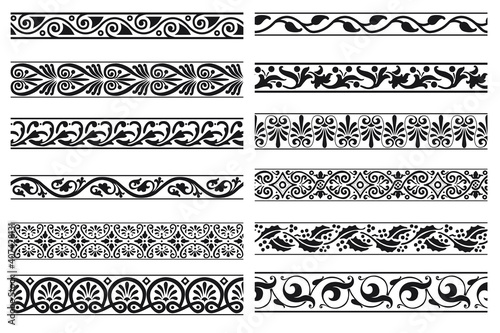 Fototapeta Set of decorative floral seamless ornamental border - Vector modular obraz