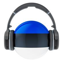 Headphones With Estonian Flag, 3D Rendering