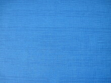 Blue Fabric Texture Background. Simple Linen Textured Backdrop In Bright Blue Colors.