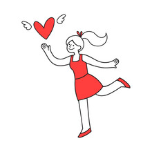 Doodle Style Girl In Red Outfit Running After Heart Symbol With Wings. Hand-drawn Illustration For Valentine's Day, Love Emotion Concept. Isolated Vector Line Art For Social Media, Card, Web Banner, O