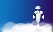 The White Robot Takes Off. Smoke Traces. Realistic Style. Vector Illustration.