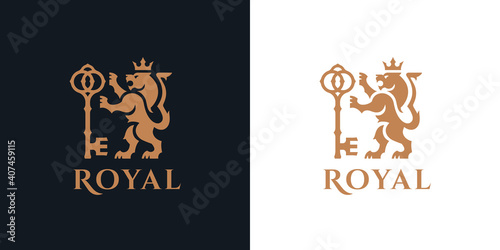 Cuadros en Lienzo Heraldry Lion logo