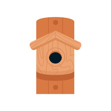Wooden Birdhouse, Isolated On A White Background. Spring Illustration For Postcards, Posters, Web Graphics, Banners, Advertisements, Brochures. Vector Illustration In A Flat Style.  Cartoon Style